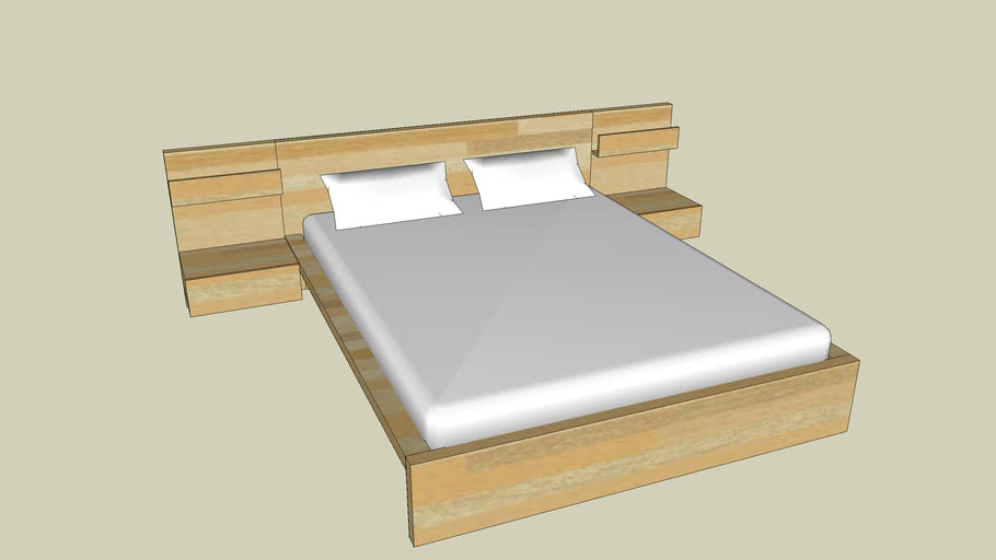 Ikea Malm Queen Platform Bed With Nightstands 3d Warehouse