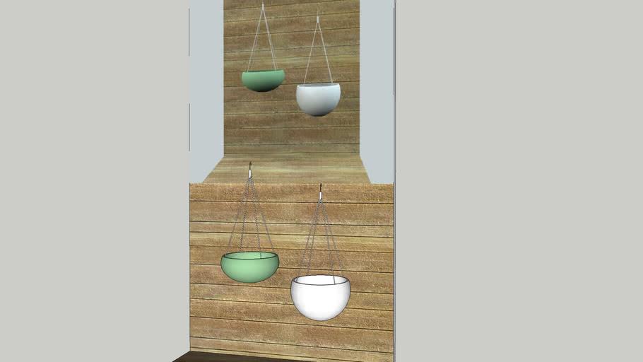 Modern Mid-Century Hanging Planters / Pots