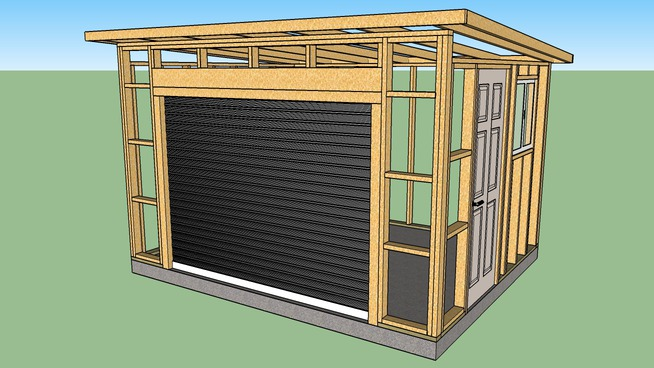 10x12 Wood Shed Roll Up Door Shed Roof 3d Warehouse