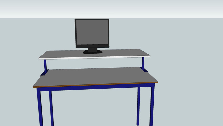 Desk with monitor