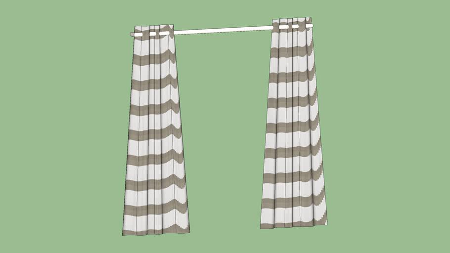 "Crate & Barrel Alston Ivory/Khaki Striped Curtains 84"""