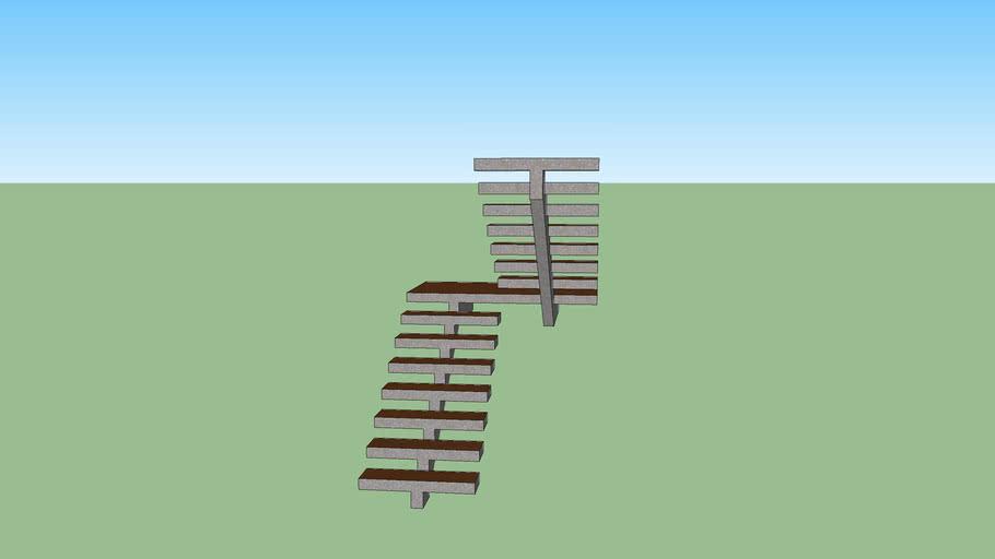 Escada em Madeira e Concreto