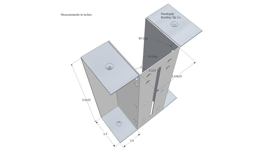 Backing Clip fits 1 5/8 stud flange for 2x6 lumber backing