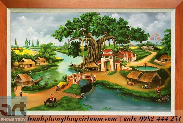 tranh đồng quê,  tranh làng quê cây đa giếng nước sân đình