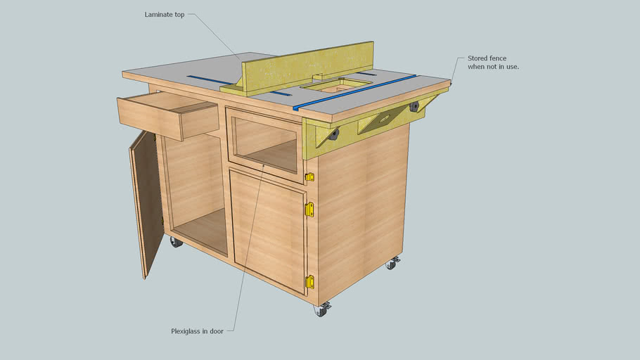 Router Table and Storage Cabinet.