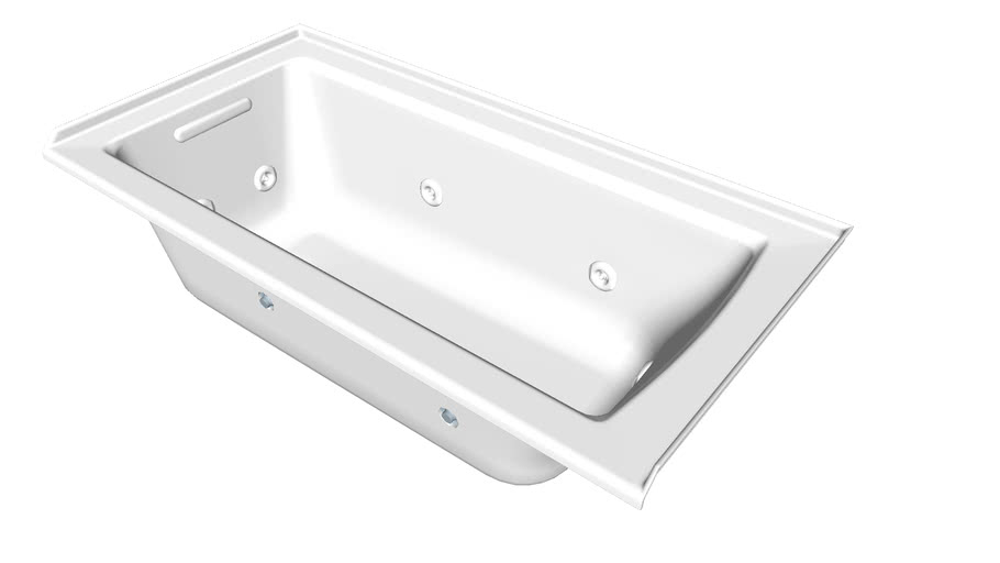 """K-1947-LH Archer(R) 60"""" x 30"""" three-side integral flange whirlpool with heater and left-hand drain"""