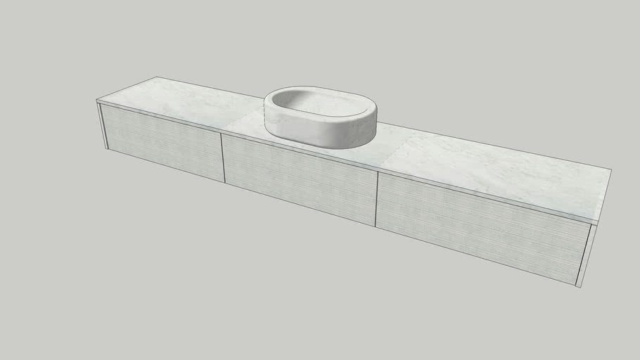 Wall-mounted modular system in Bianco Carrara marble   Salvatori   Balnea L90cm modules