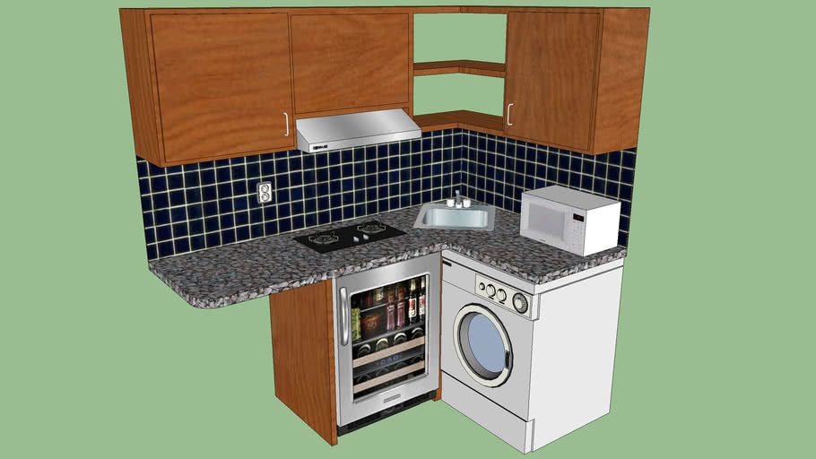 L shape kitchen counter, appliances and cabinets