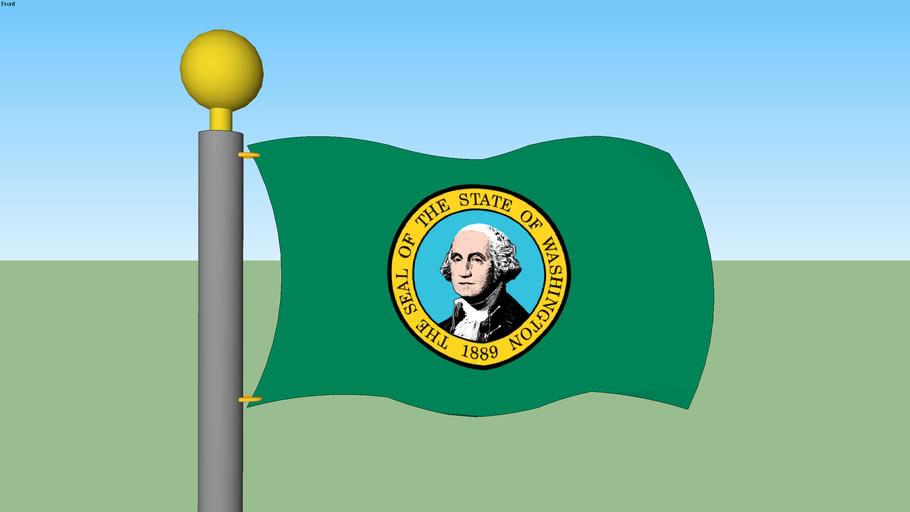 Washington State Flag with Flagpole