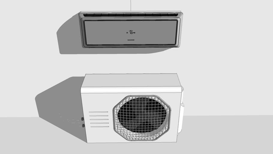 Ductless Air Conditioner Inside & Outside Unit (High Detail)
