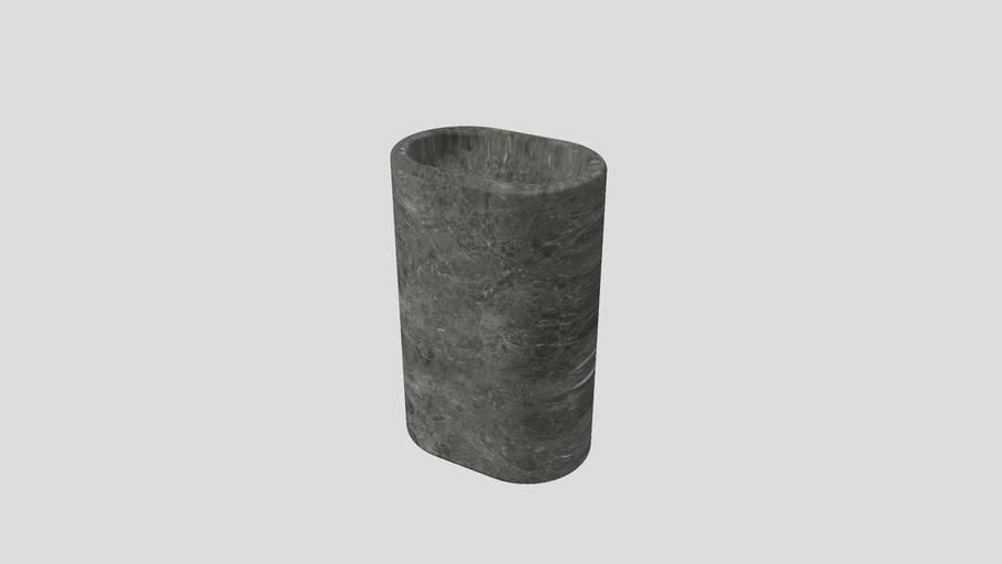 Balnea | Freestanding basin in Gris du Marais marble | 60x40xH90cm | Salvatori