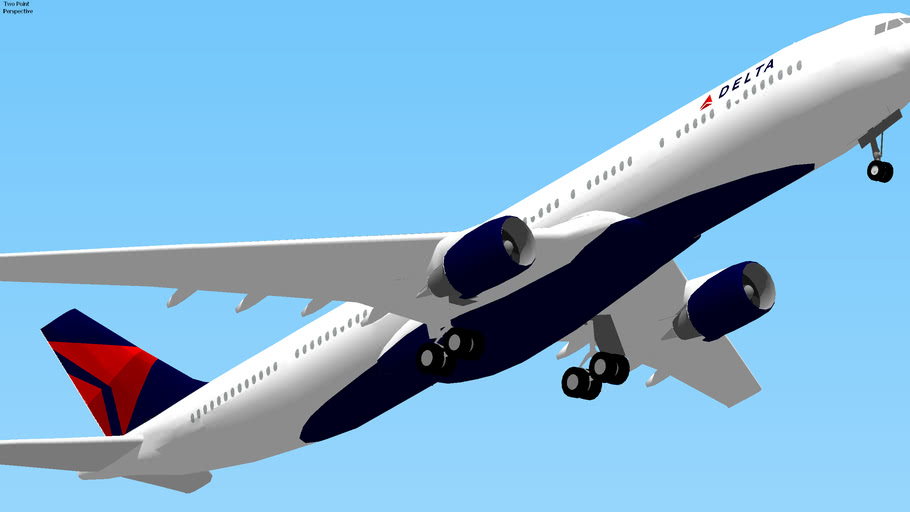 Delta Airlines Airbus A330 Takeoff from JFK, New York, USA.