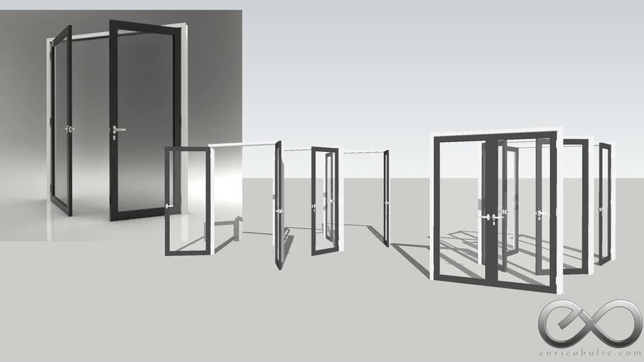 Double Glass Door - Open & Closed