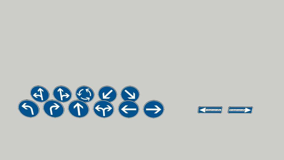 Deutsche Vorgeschriebene Fahrtrichtungenzeichen