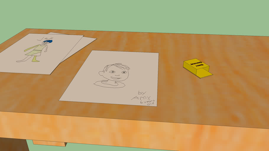 Desk with Drawings