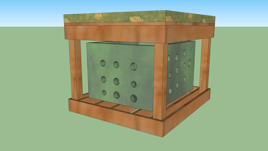 Ottoman w/ Storage Shelf Cabinet Space