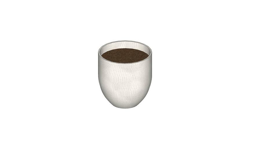 White keech large embossed ceramic pot planter