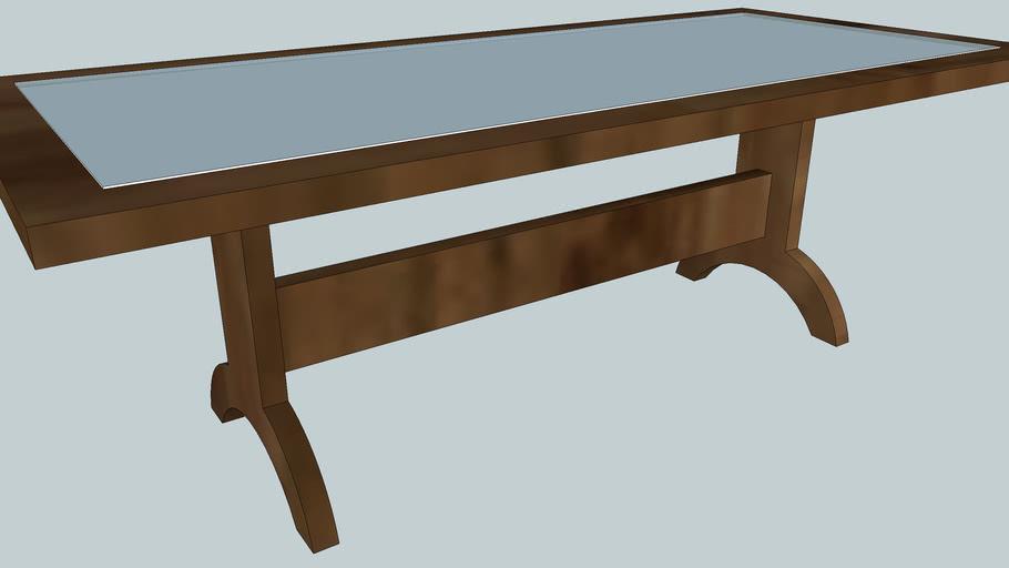 mesa madeira e vidro