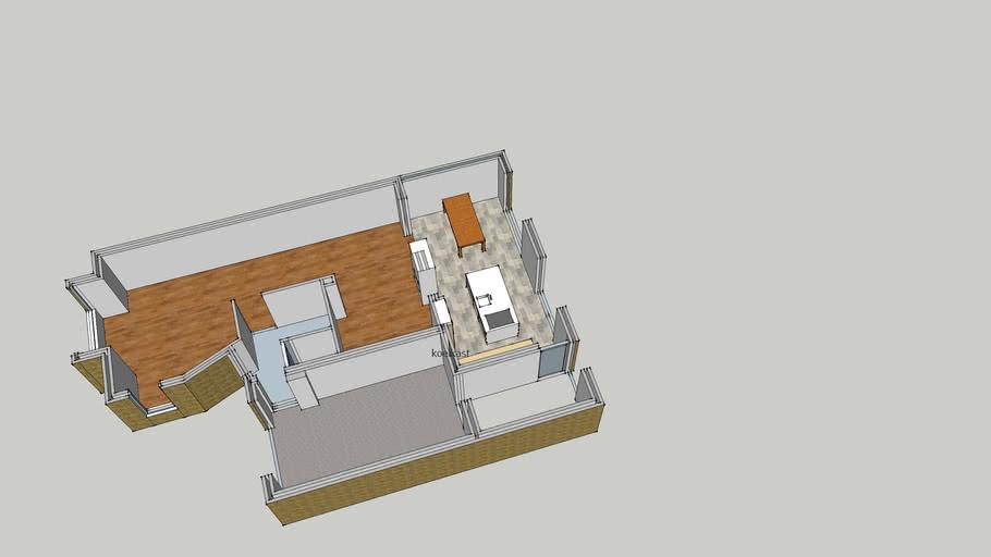 strijdakker 17 plattegrond met aanbouw en keukenschets lage kasten