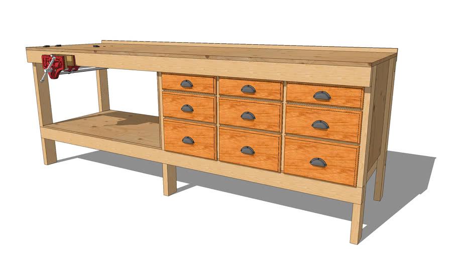 9 Drawer 2x4 Workbench