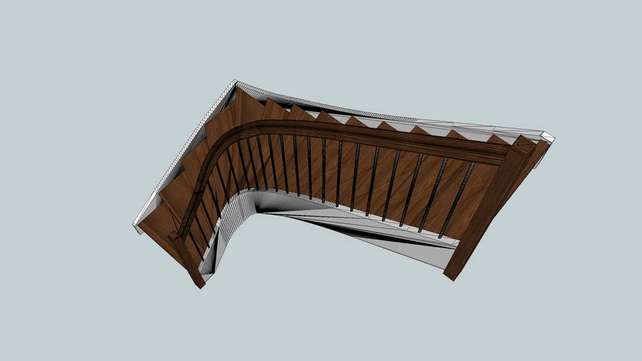L-shape stair with arc string and handrail