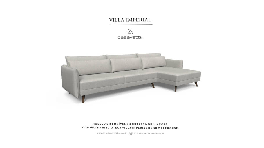 Sofá Adria - 2 Assentos mais Chaise    Villa Imperial - Casa Vetti