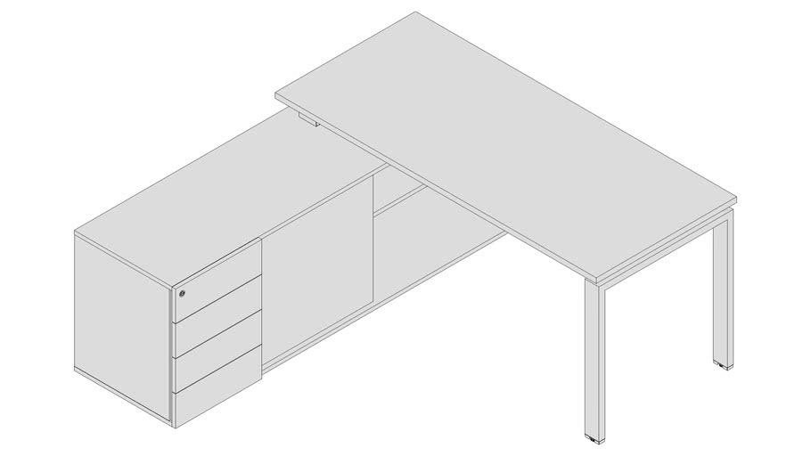 Mesa Gerente com armário credenza - PLU7355 - 4Gavetas esq.