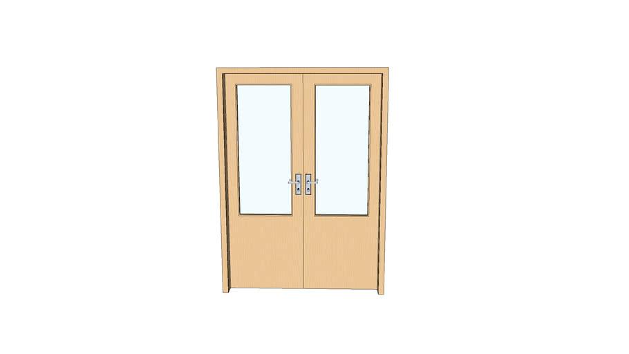 porta madeira  dupla 1,4m x 2m com vidro