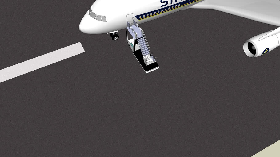 Airbus A380 Singapore Airlines on Runway with Airstairs ©