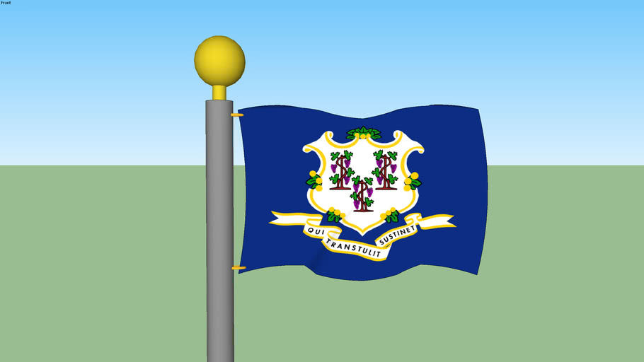 Connecticut State Flag with Flagpole