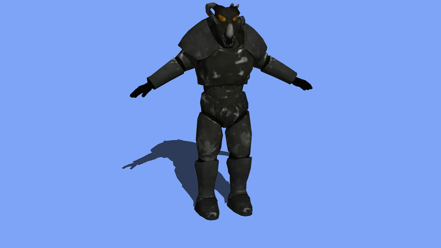 Fallout II classic X01 power armor (low poly)