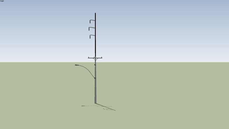 Tall Telephone Pole with Local Distribution