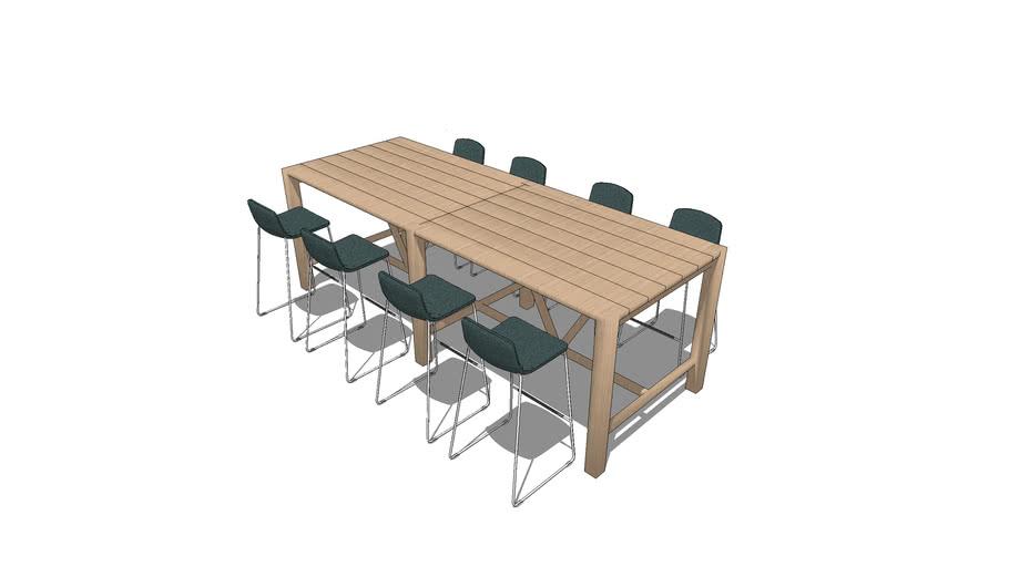 Cafe Table Scenario - High Rectangular Table Seating 8
