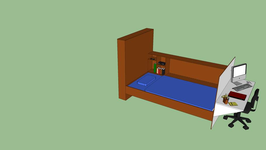 Bed met bureau en boekenkast