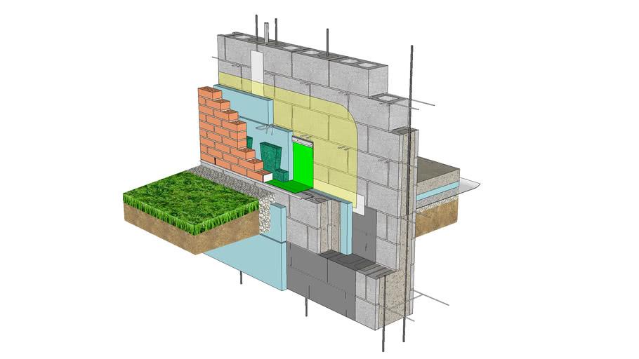 01.030.0332 Base of Wall | Anchored Brick Veneer, CMU Backing, CMU Foundation