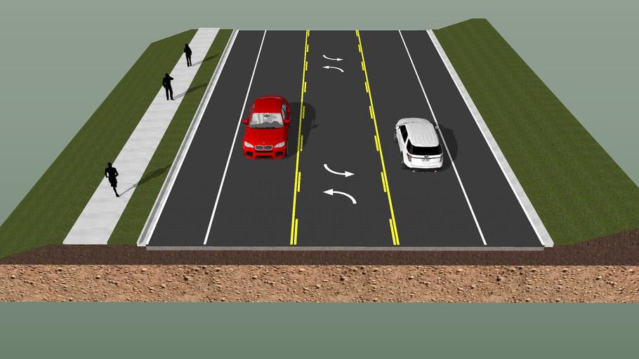 2 Lane Typical Section w/ Sidewalk
