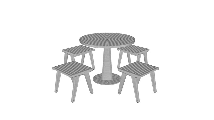 Set Mesa Alma Redonda 90 Base Grande + 4 Bancos / Alma Round 90 Table + 4 Stools Set / MXR-ALM-S-M06
