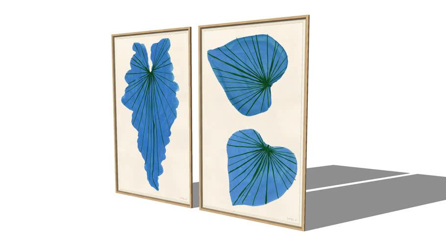 Framed Art | Blue Palm & Blue Ivy | Susan Hable for Soicher Marin