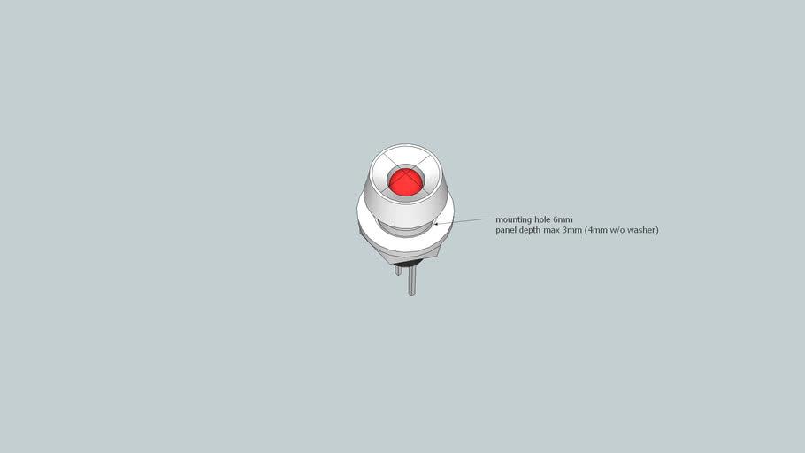 3mm LED in chrome bezel eg Jaycar SL2615