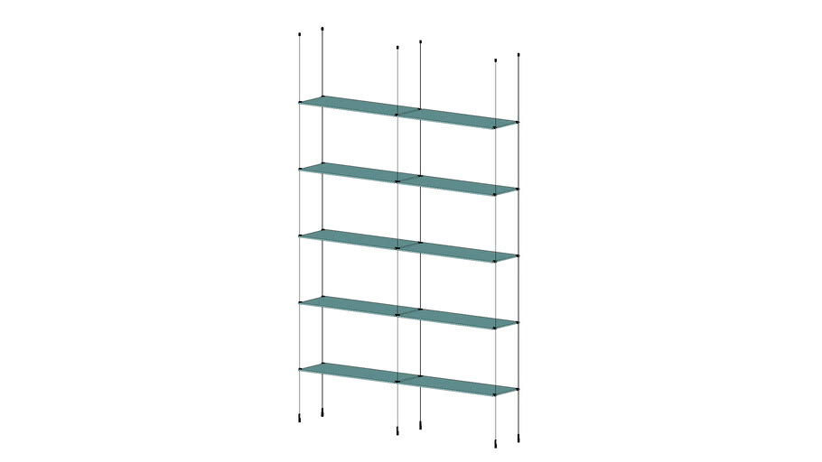 Cable Base Unit - 2 Sections - 10 Glass Shelves
