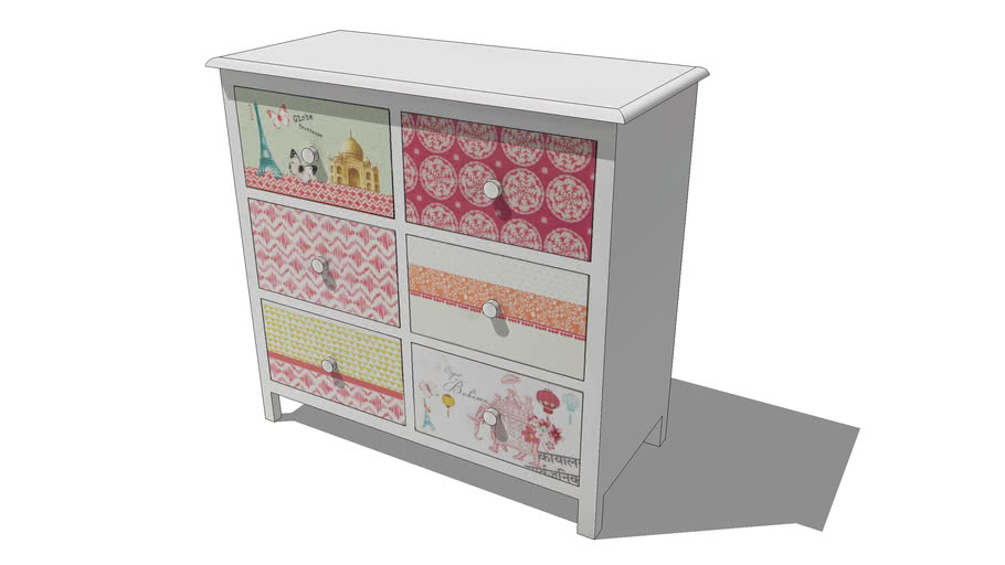 Commode enfant 6 tiroirs PINK PLANET, Maisons du monde. Réf: 143166, prix 249,90 €