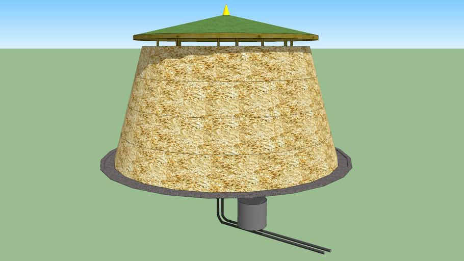 round Biomeiler - compost heating