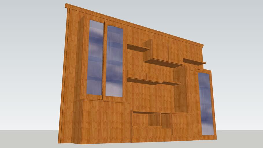 Mueble de Salón en madera con vitrinas