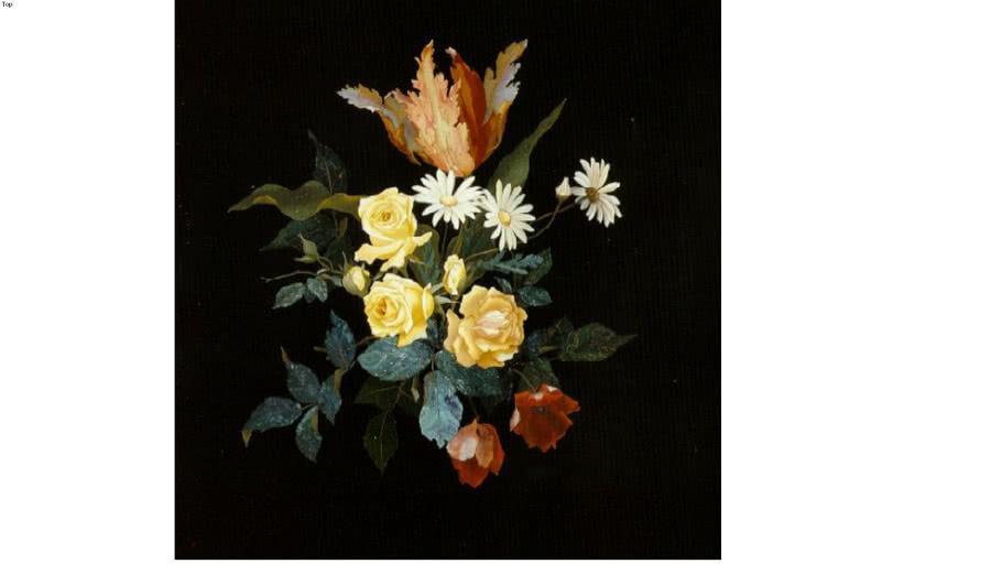 Florentine mosaic of beautiful roses.