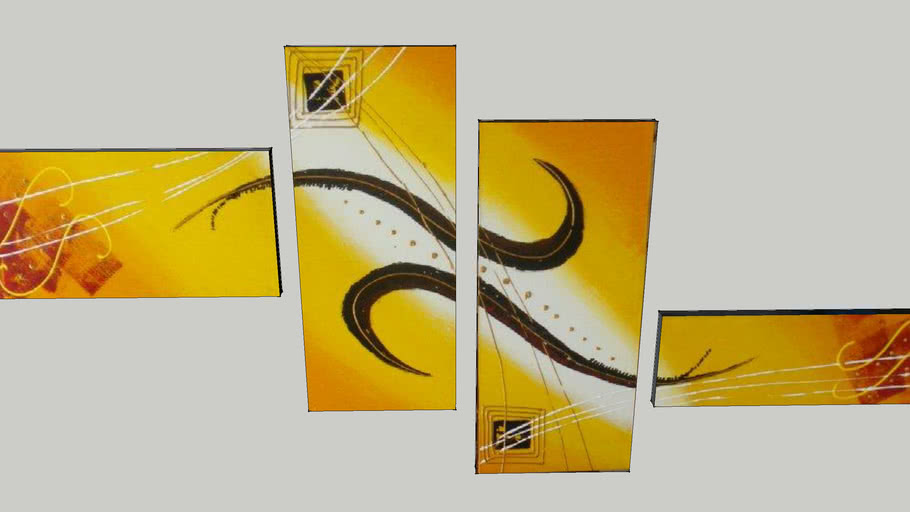 ABSTRACT PAINTING 150X70 YELLOW 4 PANEL