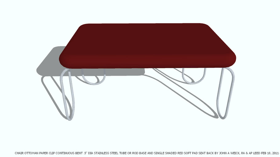 CHAIR OTTOMAN PAPER CLIP SHADED RED CUSHION BY JOHN A WEICK RA