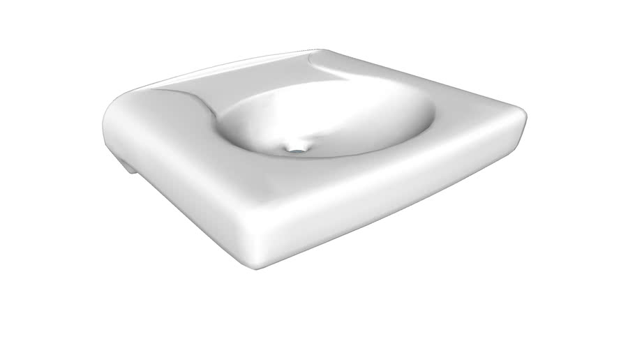 K-1997-8N Brenham(TM) Wall-mounted or concealed carrier arm mounted commercial bathroom sink with widespread faucet holes and no overflow