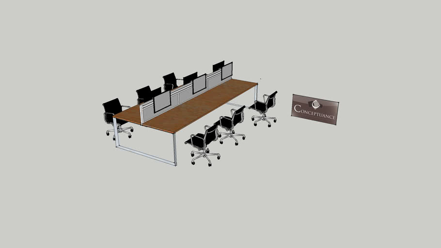 Bureau bench 6 personnes Réf: 20504