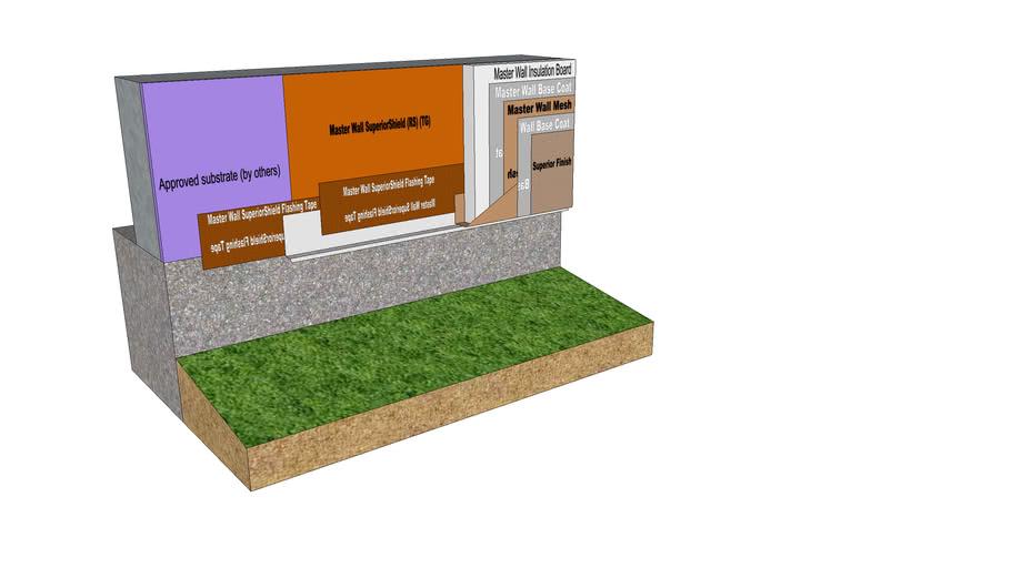 Rollershield Drainage CIFS™ Flashing Termination Detail at Grade