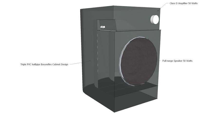 Active Speaker with Triple PVC Halfpipe Bassreflex design